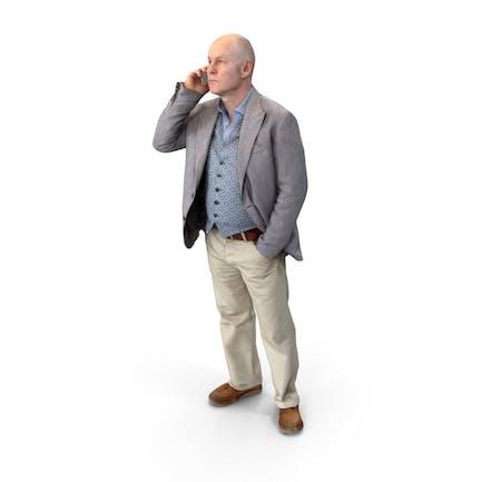 Hombre Con Teléfono Puso
