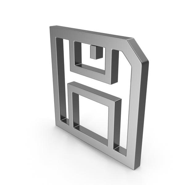 Symbol Floppy Disk Save Button Steel