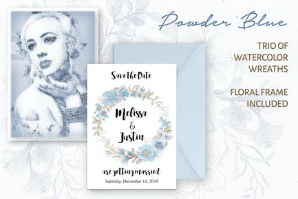 Powder Blue Watercolor Wreaths