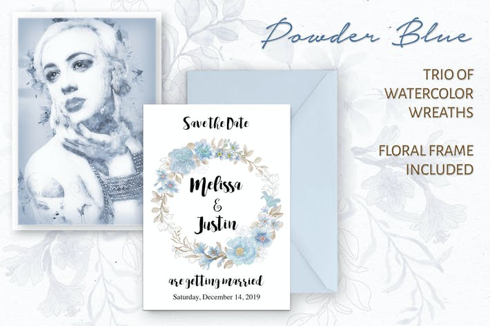 Cover Image For Powder Blue Watercolor Wreaths