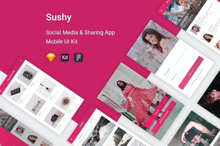 Cover Image For Sushy - Social Media Ui Kit Mobile App
