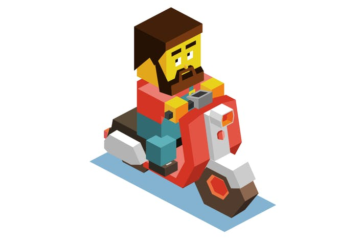 Thumbnail for Casual Scooter motor. Isometric vector illustratio