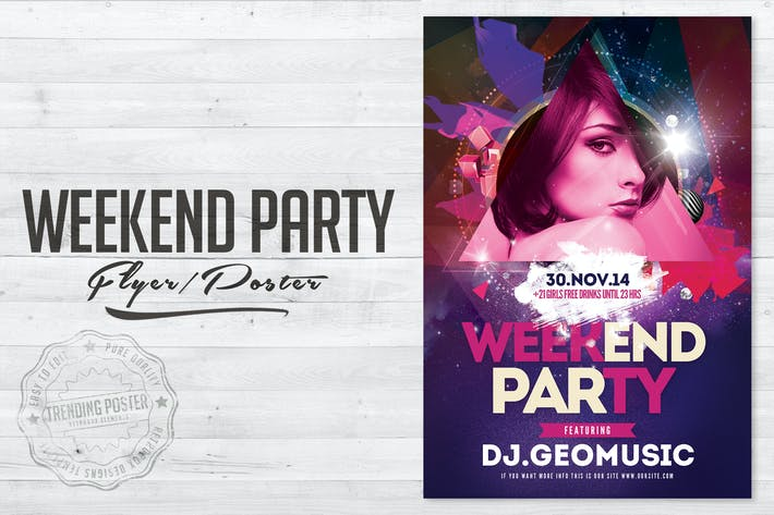 Thumbnail for Wochenend-Party-Flyer Poster