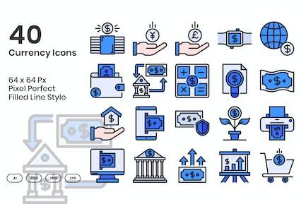 40 Währungssymbole Set - Gefüllte Linie