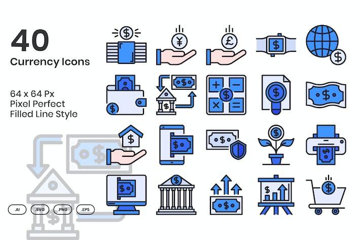 Набор Иконки валюты 40 - заполненная линия