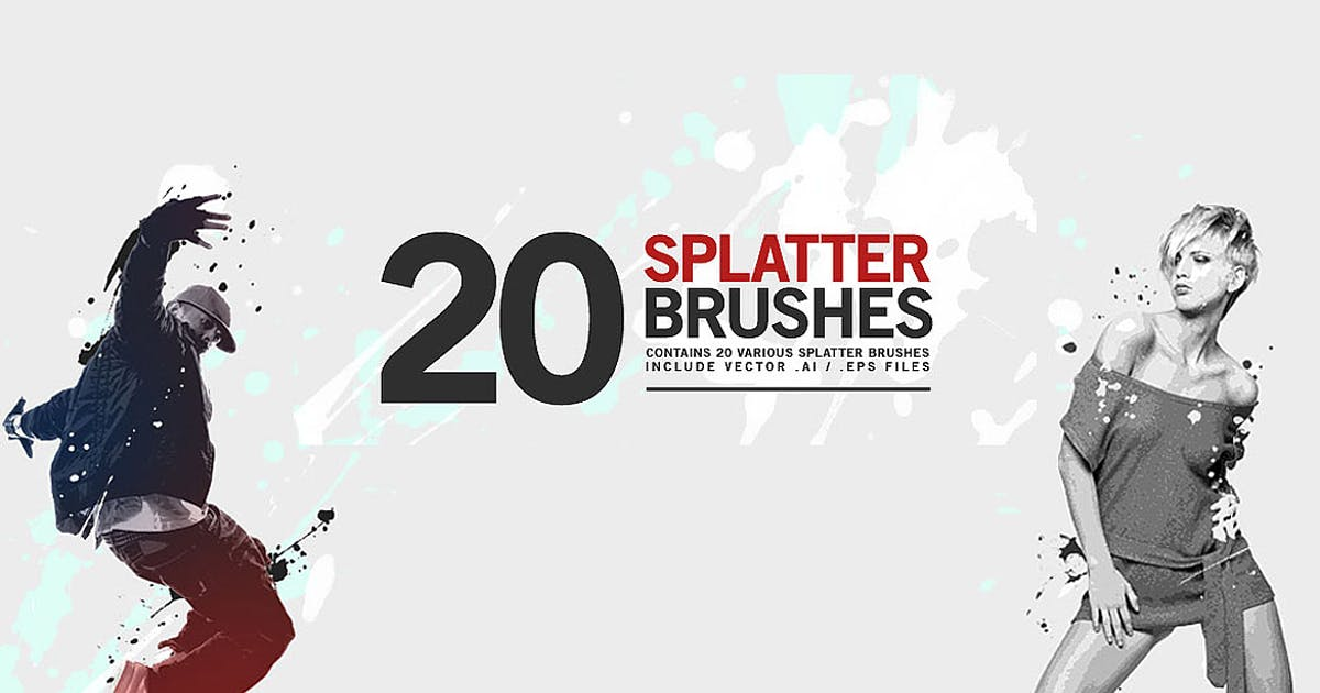 Download 20 Splatter Brushes by orcacreative