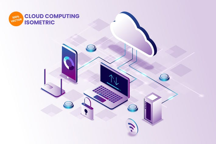 Thumbnail for Isometric Cloud Computing Vector Illustration