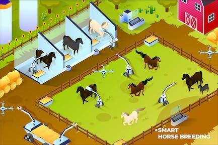Smart Breeding House - Isometric Illustration