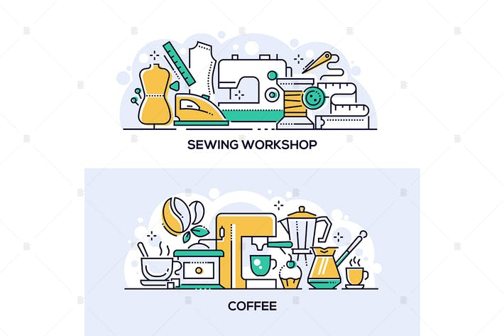 Sewing workshop and coffee banners set