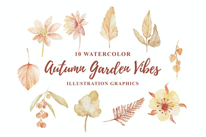 Thumbnail for 10 Watercolor Autumn Garden Vibes Illustration