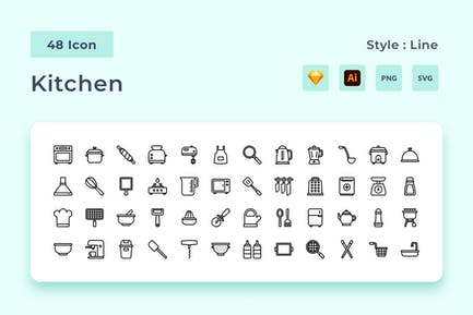 Cooking Outline Style Icon Pack