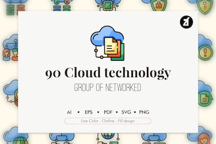 90 Cloud technology element icon pack