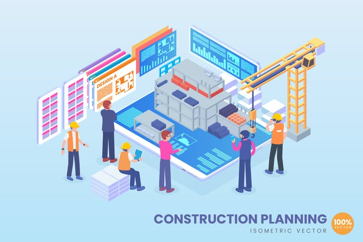 Thumbnail for Isometric Construction Planning Vector Concept