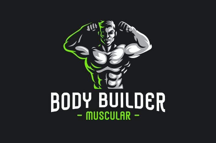 Thumbnail for Body Builder Sport Logo Template