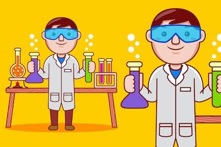 Chemist Profession Cartoon Vector