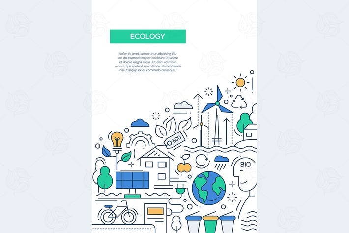 Thumbnail for Ecology - line design brochure poster template A4