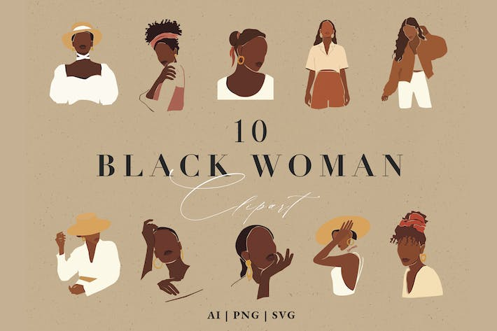 Thumbnail for Abstract Black Woman Clipart Set