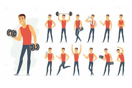 Sportsman - cartoon people character set