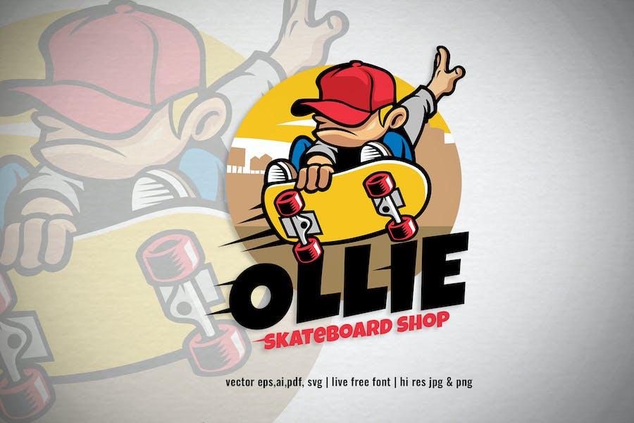boy skater ollie for skateboard logo