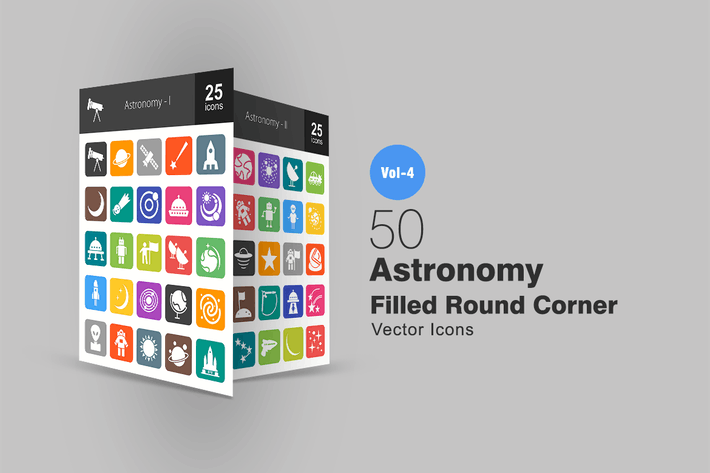Thumbnail for 50 Astronomy Flat Round Corner Icons