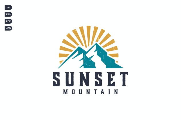 Sunset Mountain Vintage Logo Template - product preview 0