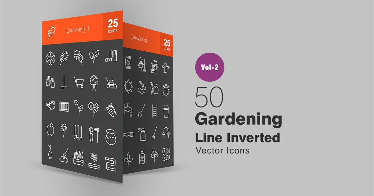 Download 50 Gardening Line Inverted Icons by Unknow