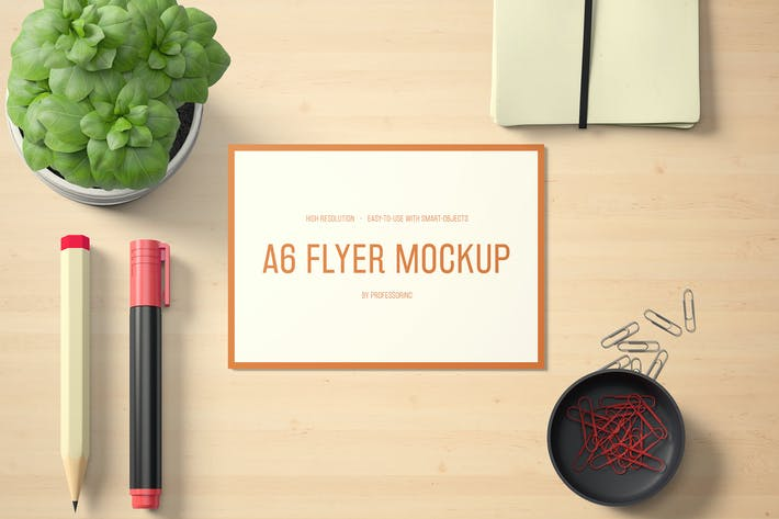 Cover Image For A6 Landscape Flyer Mockup Set 1