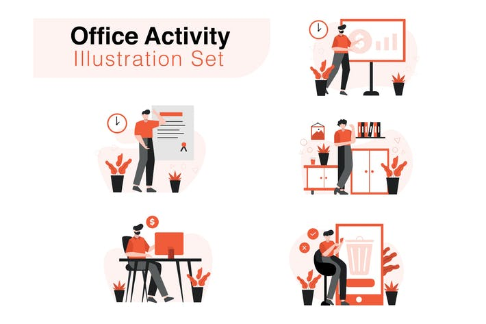 Thumbnail for Office Activity Illustration Set