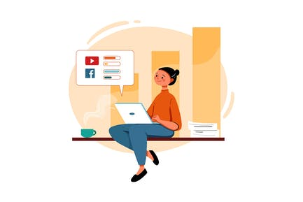Woman Working On Sales Marketing