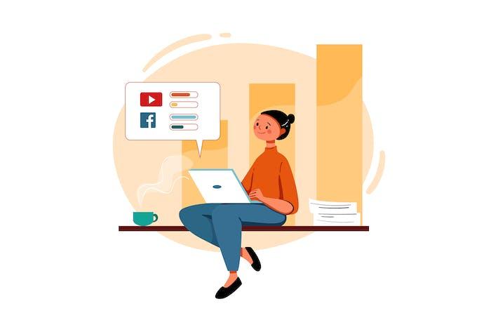 Женщина, работающая над маркетингом продаж