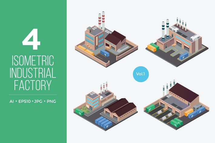 Thumbnail for Isometric Industrial Factory Vector Set 1