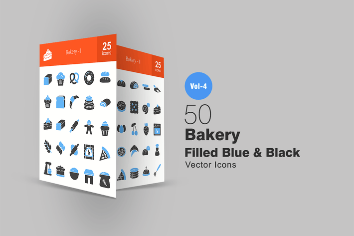 Thumbnail for 50 Bakery Blue & Black Icons