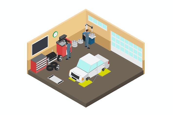 Automotive Workshop Isometric Illustration