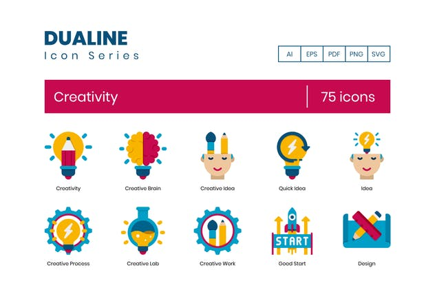 75 Creativity Icons - Dualine Flat Series