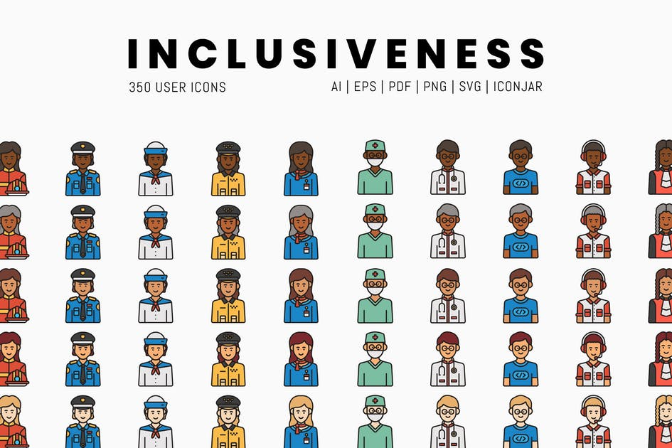 Download Inclusiveness - 350 User & Avatar Icons by Krafted
