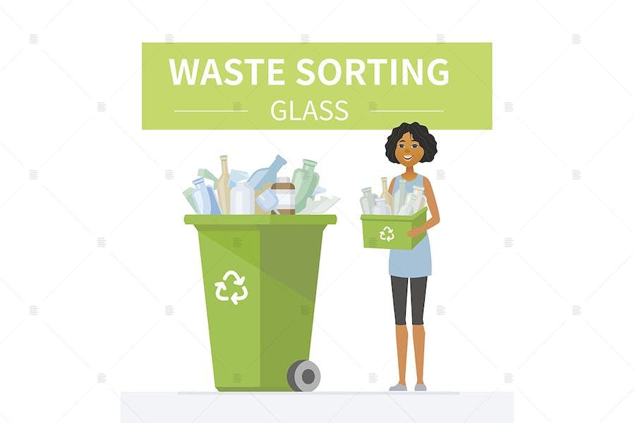Glasabfall Recycling - bunte Illustration