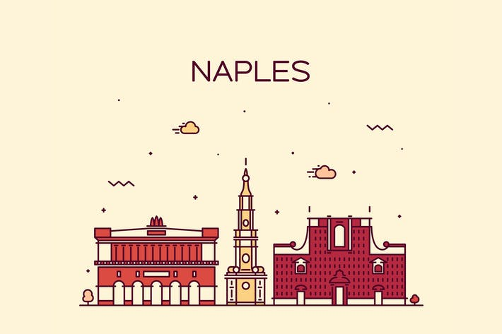 Cover Image For Naples skyline, Italy