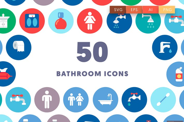 Thumbnail for 50 Bathroom & Toilet Icons