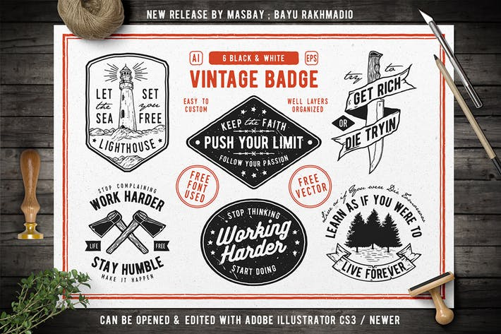 Thumbnail for 6 Hipster Vintage Badges