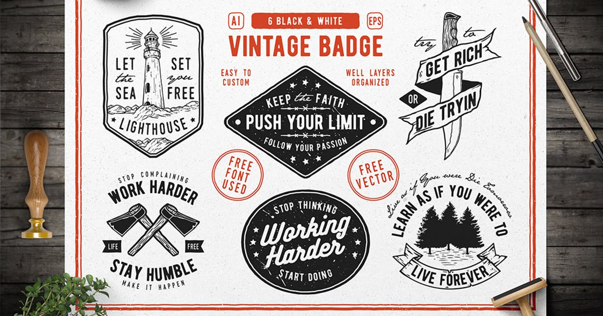 Download 6 Hipster Vintage Badges by bayurakhmadio