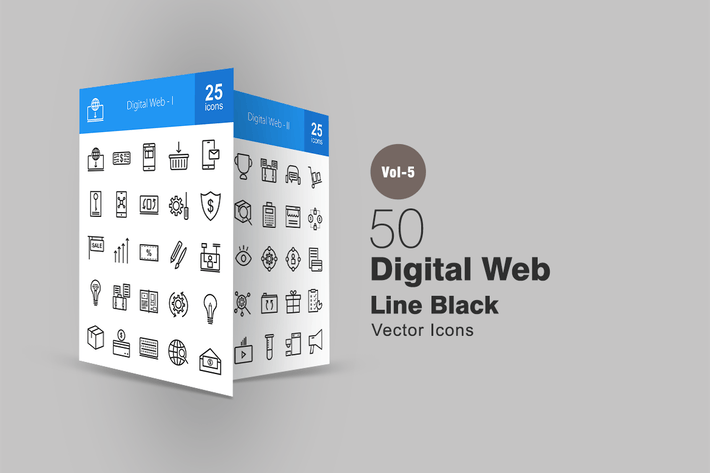 Thumbnail for 50 Digital Web Line Icons