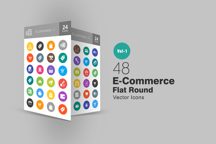 Thumbnail for 48 Ecommerce Flat Round Icons