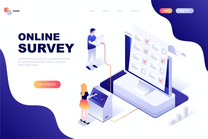 Thumbnail for Online Survey Isometric Landing Page Template