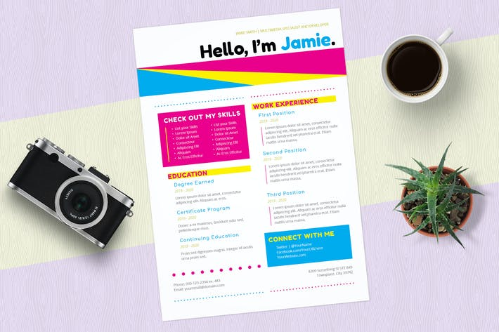 Cover Image For InDesign Resume Template (Colorful CMYK)