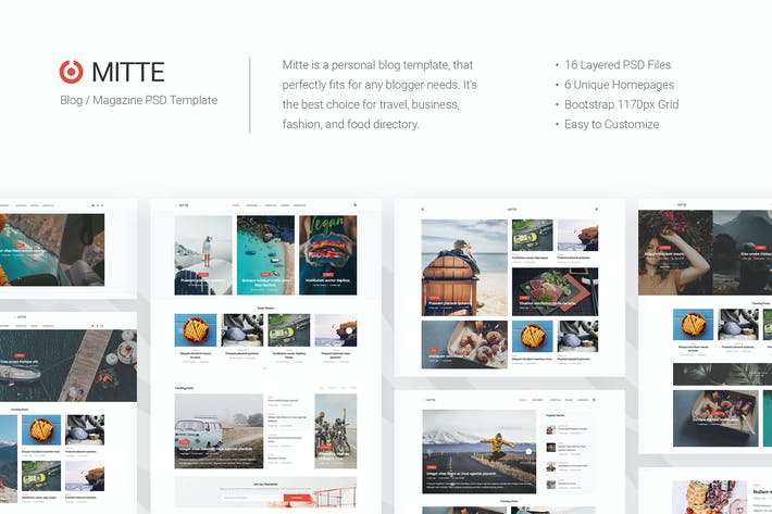 Thumbnail for Mitte - Blog / Magazine PSD Template