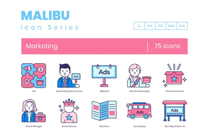 Thumbnail for 75 Marketing Icons | Malibu Series