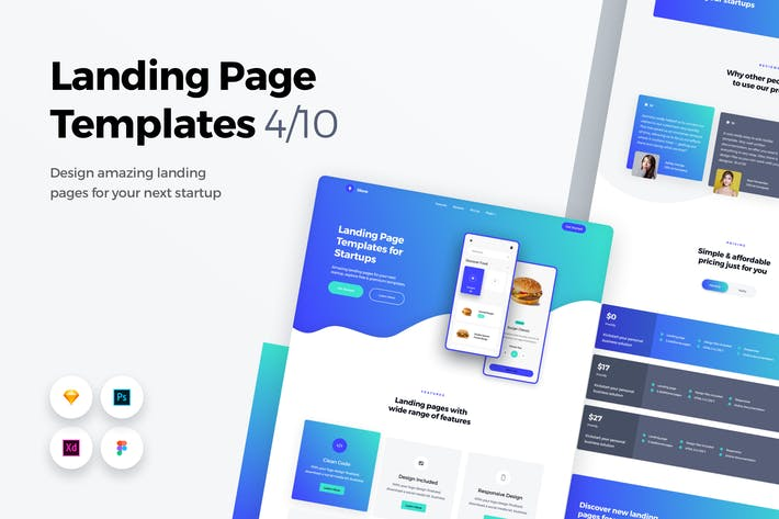 Thumbnail for Landing Page Templates - Web UI Kit - 4