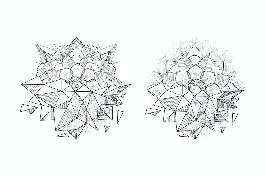 Ornament round mandalas tattoo. Geometric circle e