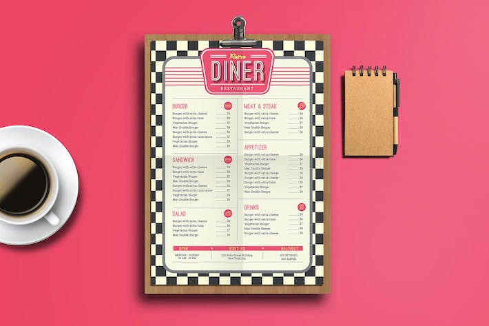 Thumbnail for Retro Diner Food Menu