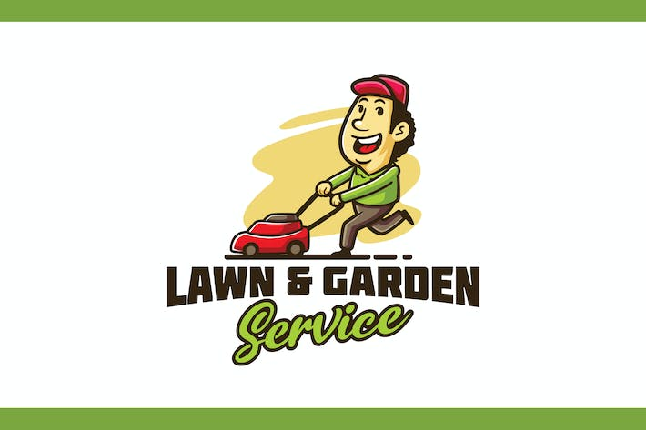 Lawn Mowing and Landscaping Service Mascot Logo
